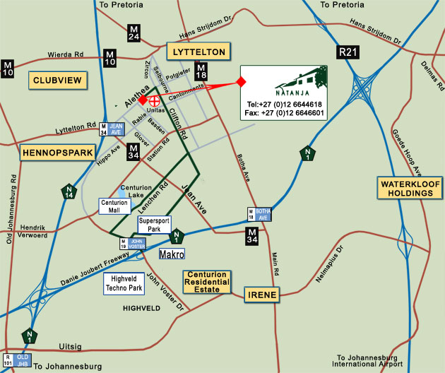 Map to Natanja Guest House   Centurion, Tshwane, Gauteng, South Africa